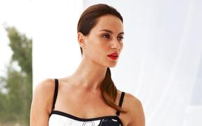 Picture girl, model, brunette, lips, red, Catrinel Menghia, brown hair, beauty, model, Catrinel Menghia