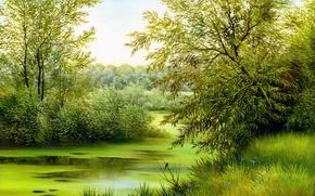 Wallpaper canvas, green, flowers, nature, trees, painting, bird, grass, landscape