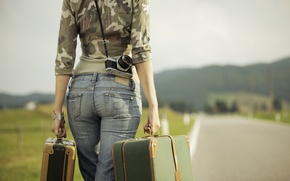 Picture road, girl, the camera, bracelet, suitcases