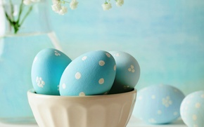 Picture flowers, eggs, Easter, blue, flowers, eggs, easter, pastel