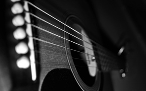 Picture guitar, strings, case, dusty guitar
