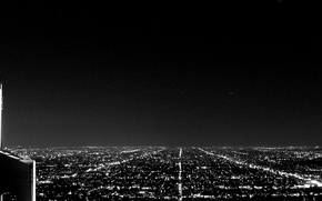 Picture the sky, landscape, night, lights, black and white, horizon, panorama, street, Los Angeles