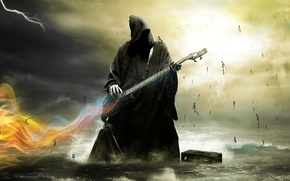 Picture the sky, water, death, electric guitar, skeletons