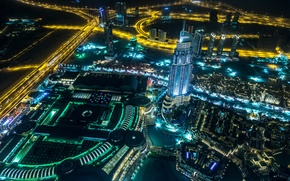 Picture night, the city, photo, road, top, Dubai, megapolis, United Arab Emirates