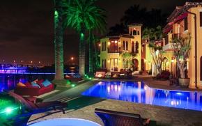Picture palm trees, Villa, pool, Enrique Iglesias mansion