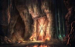 Picture bridge, the city, rocks, the door, fantasy, art, fantasy, the gates, art, Jonathan Dufresne, Jonathan …