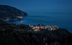 Picture light, hills, Italy, twilight, Italy, Cinque Terre, Corniglia