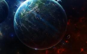 Picture stars, light, planet, asteroids, satellites, civilization, spaceships