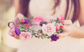 Picture flowers, spring, happy, the bride, wreath, wedding, flowers, spring, lovely, wedding, bride, cute, wreath, happy