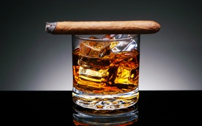 Picture BACKGROUND, GLASS.CUBES, DRINK, ALCOHOL, CIGAR, ICE, TOBACCO