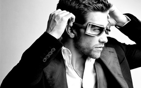 Wallpaper style, black and white, Jake Gyllenhaal, actor