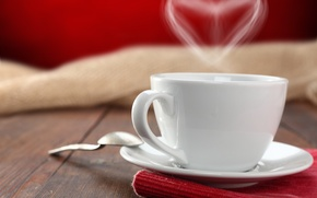 Picture table, tea, heart, coffee, spoon, Cup, saucer, napkin