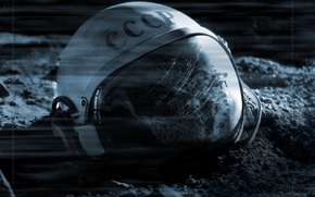 Wallpaper Apollo 18, Moon, Astronaut Helmet, SSSR, Movie, CCCP