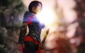 Picture girl, rendering, background, sword, warrior