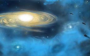 Picture stars, light, nebula, planet, world, UFO, Space, galaxy, space, light, star, spaceships, UFO