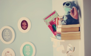 Picture background, Wallpaper, mood, toy, books, picture, shelf, animal. room