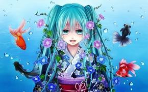 Picture fish, anime, art, Hatsune Miku, Vocaloid