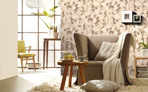 Picture room, Wallpaper, chair