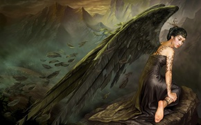Wallpaper sadness, mountains, stone, wings, angel, feathers, dress, Asia, tattoo