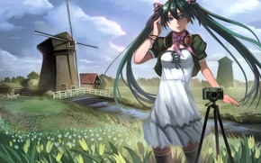 Wallpaper grass, girl, clouds, landscape, flowers, bridge, river, the wind, stockings, headphones, dress, art, mill, tulips, ...