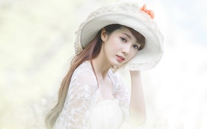 Picture girl, style, background, hat