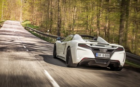 Picture car, McLaren, white, road, Gemballa, trees, MP4-12C, speed, GT Spider