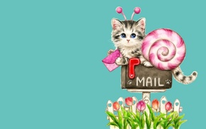 Picture letter, art, kitty, children's, mail, Caemi Hara, mail