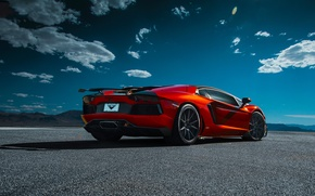Picture Desert, LP740-4, Lamborghini, Vorsteiner, Orange, Clouds, Zaragoza, Aventador-V, Rear, Supercar, Sky