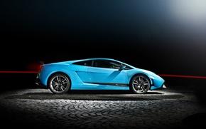 Picture blue, profile, gallardo, lamborghini, drives, blue, Lamborghini, Gallardo, wing, lp570-4 superleggera