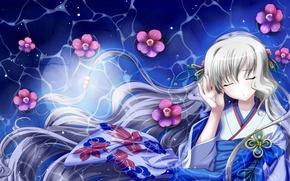 Picture girl, flowers, hair, kimono, long, Nami, Aoi Shiro