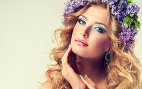 Picture look, flowers, face, wreath, lilac