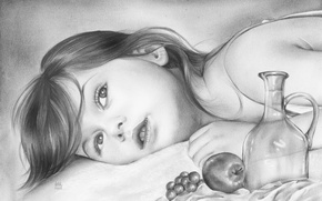 Picture girl, lies, look, pencil, child, painting, face, Apple, grapes