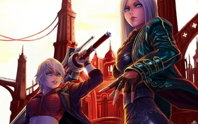 Picture weapons, sword, art, devil may cry, girls, the city, dantewontdie