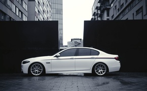 Picture BMW, White, BMW, Drives, F10, Side, Overcast, Deep Concave