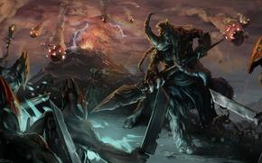 Picture the volcano, art, the eruption, beast, battle, spear, horn, Dota 2, Magnus