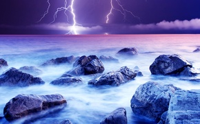 Picture sea, the storm, the sky, clouds, stones, lightning