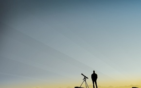 Picture people, vector, morning, Telescope