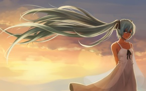 Picture look, girl, sunset, smile, the wind, vocaloid, hatsune miku, Vocaloid, art, jacky