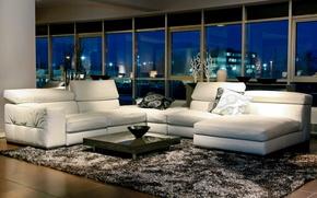 Picture room, sofa, Windows, table, carpet.