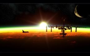 Wallpaper the moon, the sun, Shuttle, dawn, station, ISS
