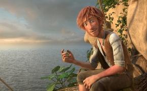 Picture cinema, animation, red, sky, red hair, sea, ocean, cloud, rocks, island, man, cartoon, explorer, movie, …