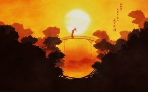 Picture trees, sunset, bridge, umbrella, geisha, characters, the legend of the 8 dogs of the East, …