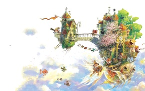 Picture the sky, clouds, ship, island, fish, anime, art, Xue Wawa