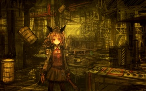 Picture girl, plant, anime, key, art, bow, ears, barrels, lm7