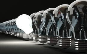 Picture light, off, shine, idea, light bulbs