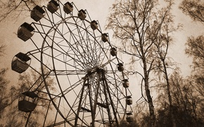 Picture autumn, trees, the city, Park, the wind, Wallpaper, beauty, the evening, Ferris wheel, view, booths, ...