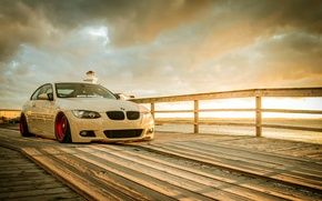 Picture BMW, white, wheels, tuning, E92, frontside