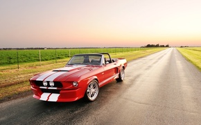 Picture road, field, the sky, red, strip, tuning, Mustang, Ford, Shelby, Convertible, Ford, Mustang, tuning, the …