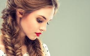 Picture girl, face, makeup, lipstick, lips, profile, braids
