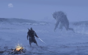 Picture Art, The Witcher, Fiction, Geralt, The Witcher 3: Wild Hunt, Geralt, Jakub Rozalski, Jakub Rozalski